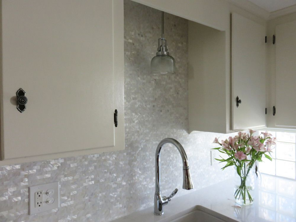 White Brick Groutless Pearl Shell Tile Kitchen Tiles Mother Of