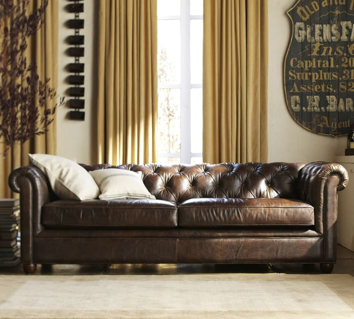 Chesterfield Leather Upholstered Sofa Polyester Wrap Cushions Cocoa