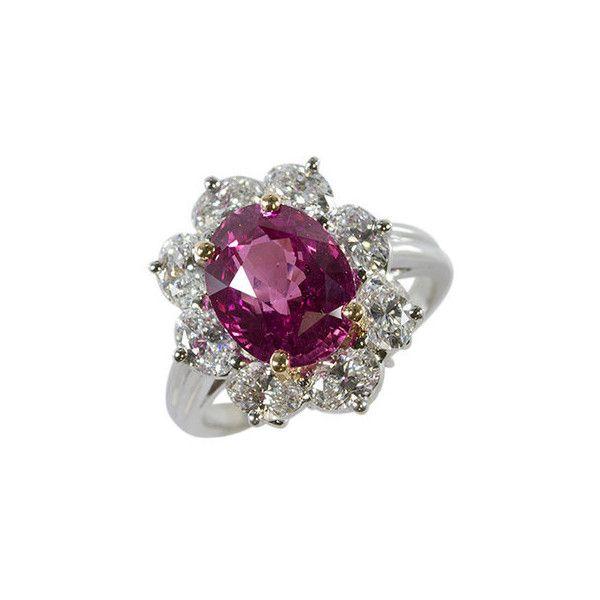 Oscar Heyman Platinum Pink Sapphire Diamond Ring ($590) ❤ liked on Polyvore featuring jewelry, rings, oscar heyman ring, platinum jewellery, pink sapphire diamond ring, platinum diamond rings and pink sapphire jewelry