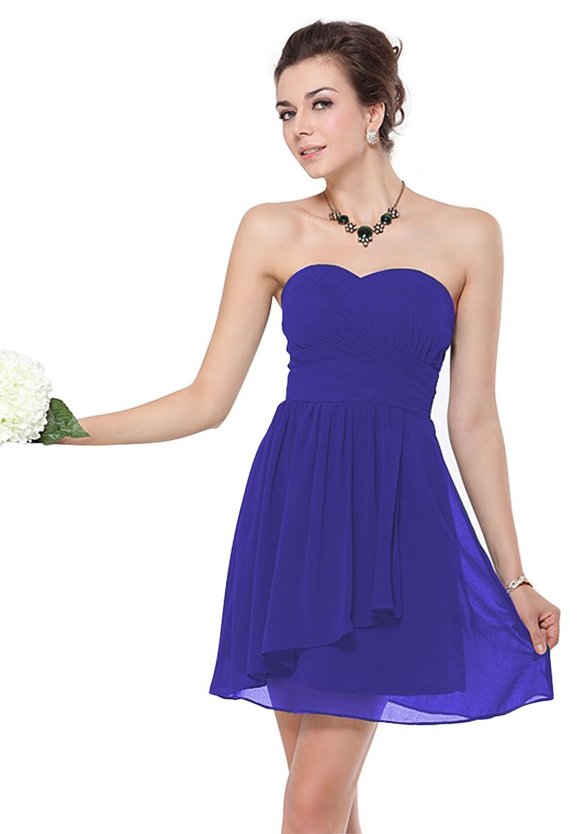 Sweetheart Short/Mini Blue Chiffon A-Line Bridesmaid Dress $88.99 ...