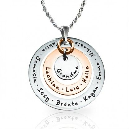 Circles of Love Pendant - TWO TONE - Rose Gold & Silver