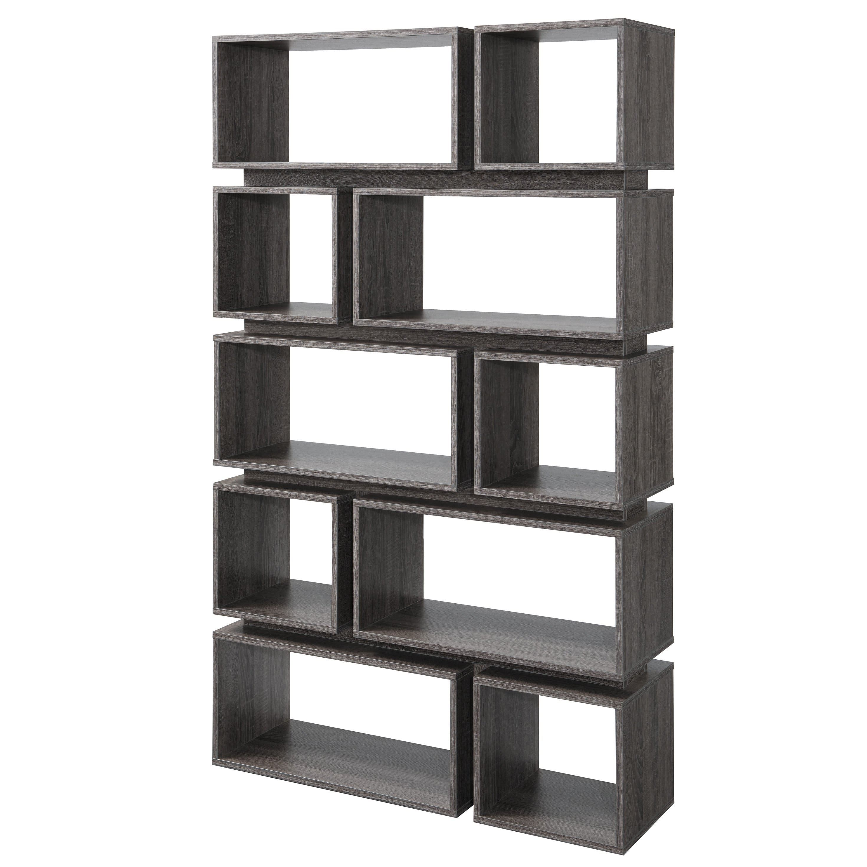 Furniture Of America Niti Rustic Grey 10 Shelf Open Bookcase Open Bookcase Bookcase Furniture Of America