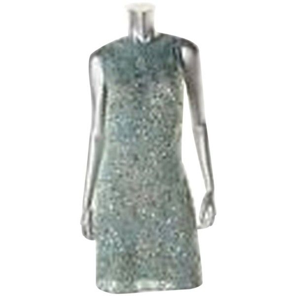 Pre-owned Aidan Mattox Cocktail Club Dress ($186) ❤ liked on Polyvore featuring dresses, light green blue, green sequin dress, holiday party dresses, blue cocktail dresses, blue lace cocktail dress and lace dress