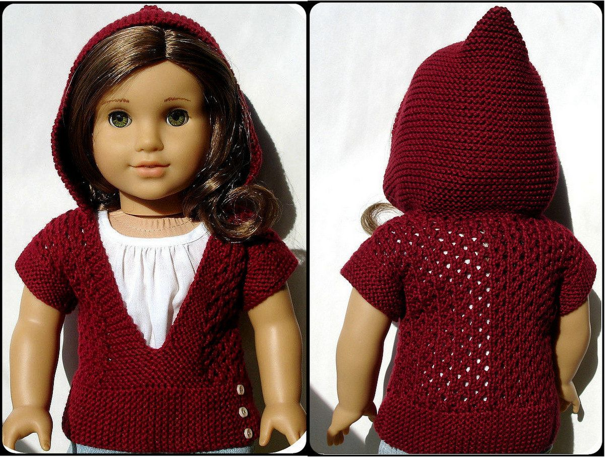 Mae Hooded Pullover Sweater - PDF Knitting Pattern For 18\