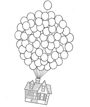 Free Download Supercoloring Pages House On Balloons
