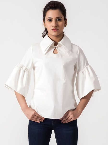 Shop Blouses - White Stand Collar 3/4 Sleeve Blouse online. Discover unique designers fashion at StyleWe.com.