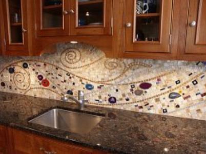 backsplash ideas for kitchen with blue glass tile kitchen