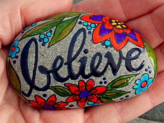 Painted Rocks Kindness Rocks Inspirational Rocks Story Stones Rock Art BELIEVE Rock Rainbow Rocks