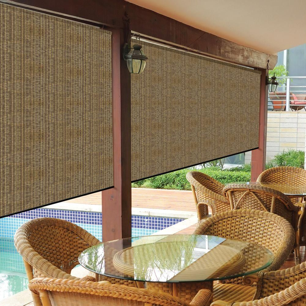 Coolaroo Walnut Cordless Light Filtering Fade Resistant Fabric Exterior Roller Shade 120 In W X 96 In L 460082 Exterior Roller Shade Outdoor Shade Roller Shades