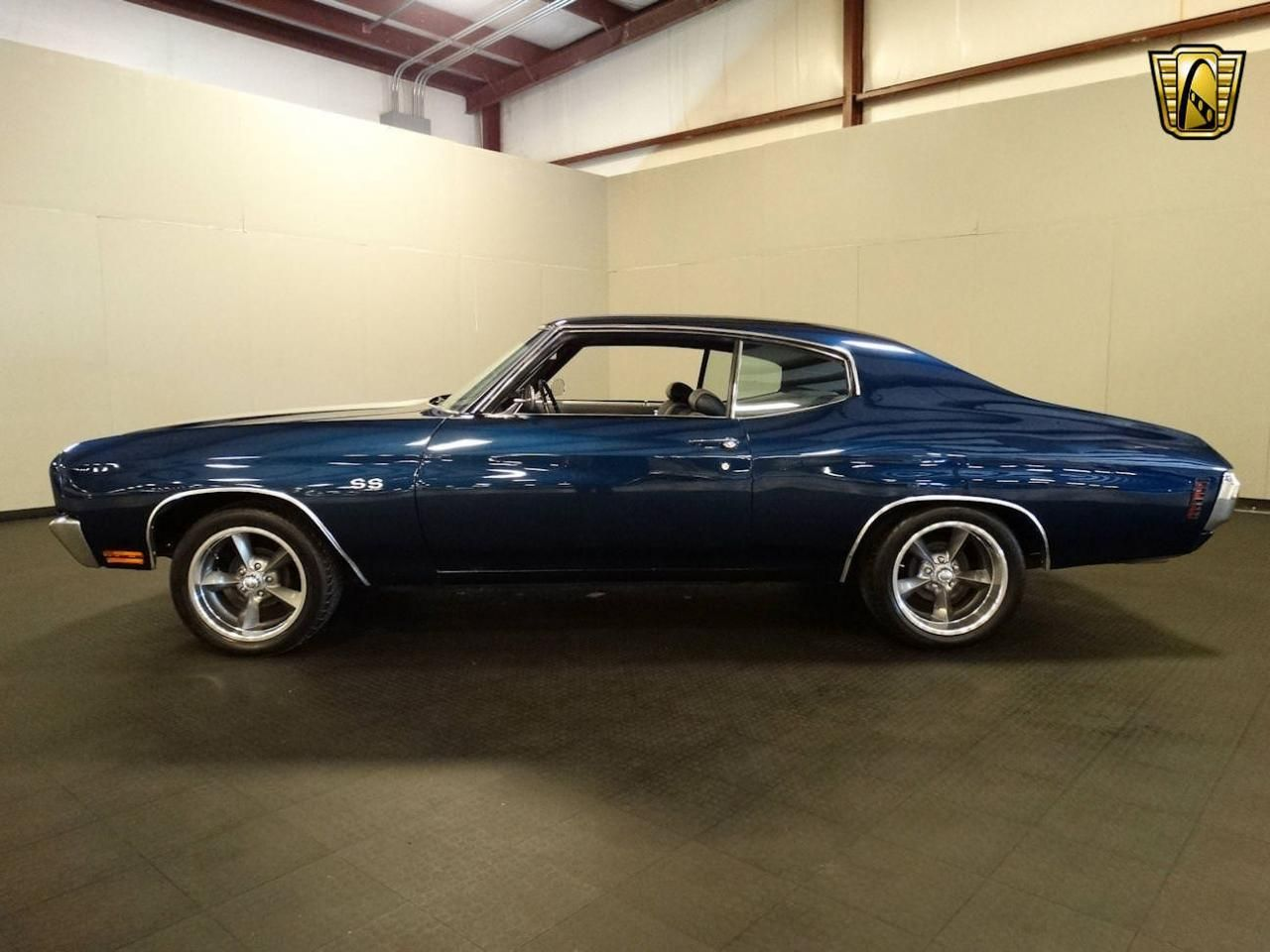 For sale in our louisville kentucky showroom is a navy blue 1970 chevrolet chevelle 350