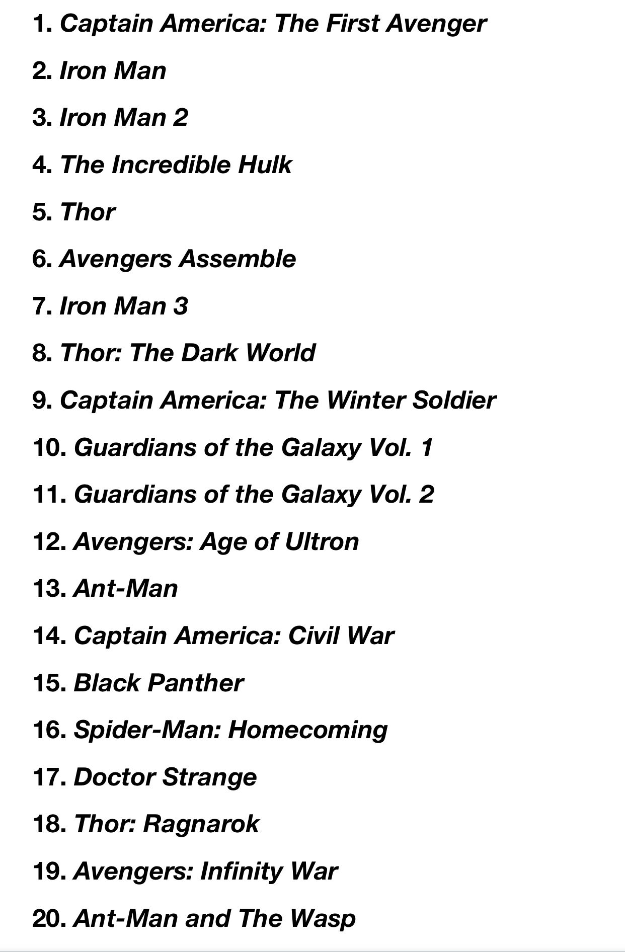 Chronological Order Of Marvel Movies As Of December 2018 Avengers Movies In Order Marvel Movies In Order Marvel Avengers Movies