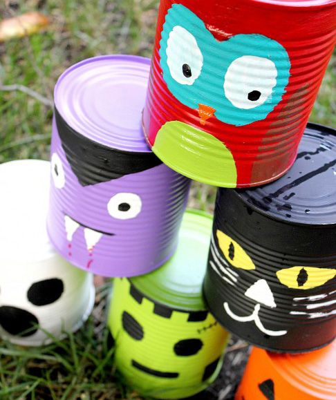 Tin can line-up for Halloween or other parties Craft night