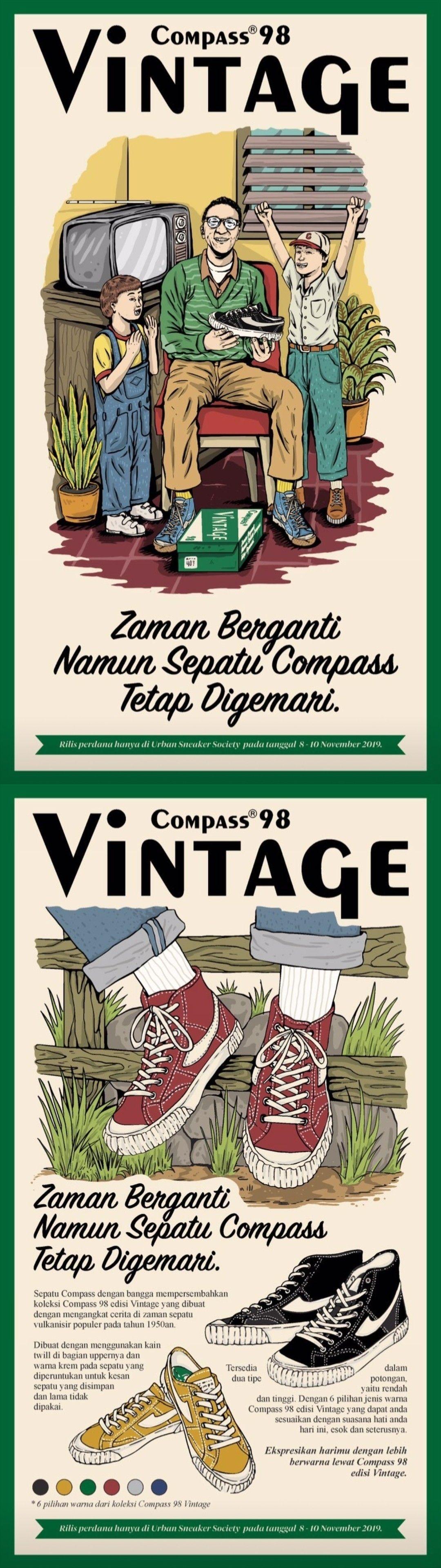 Poster Sepatu Compass Vintage Di 2020 Seni Kutipan Terbaik
