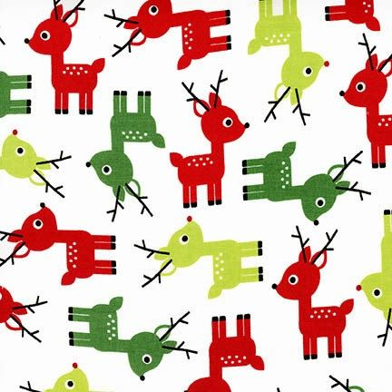 christmas reindeer fabric jingle by ann kelle from robert kaufman red and green christmas fabric aak 15268 1 white
