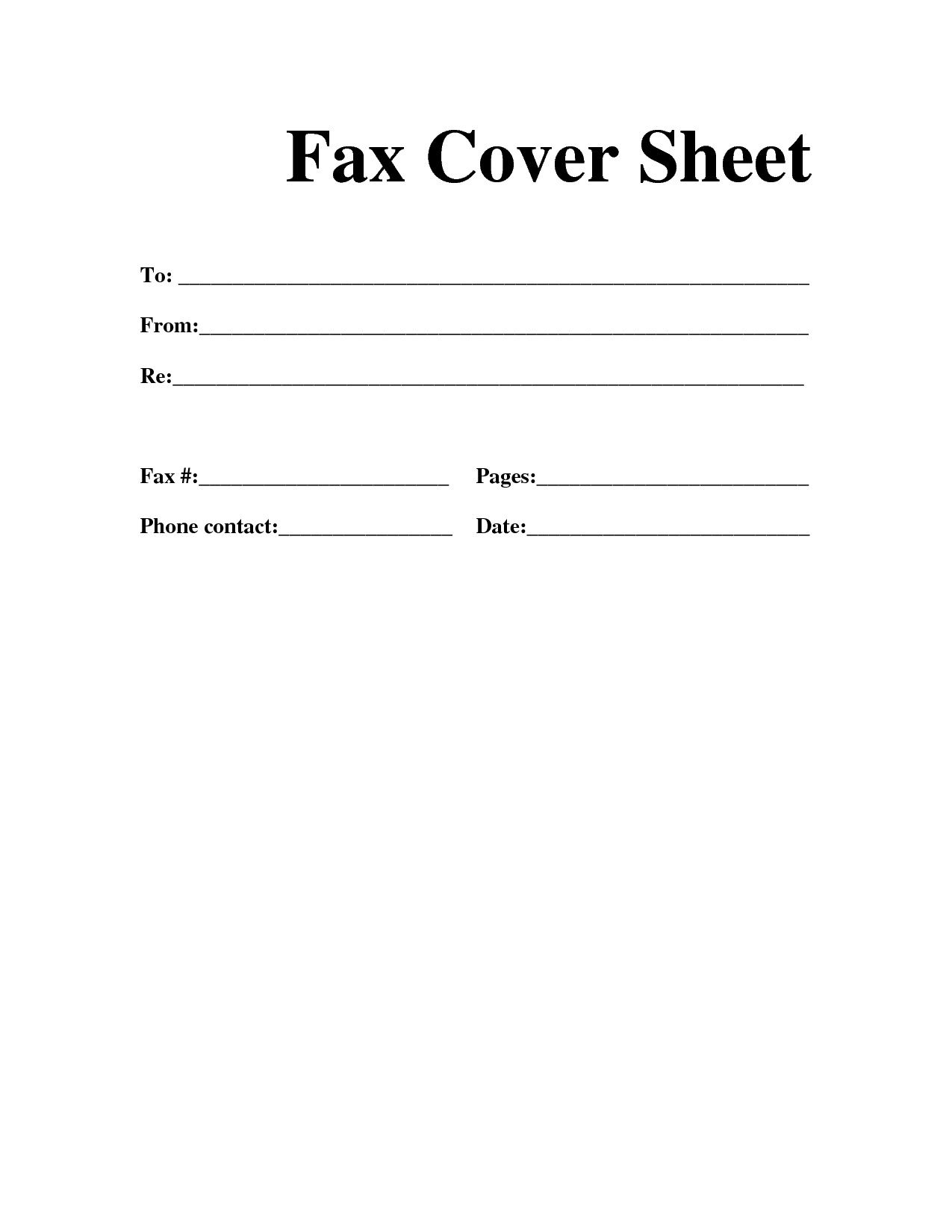 Blank Fax Cover Sheet Printable PDF – Fax Cover Sheet Template Word