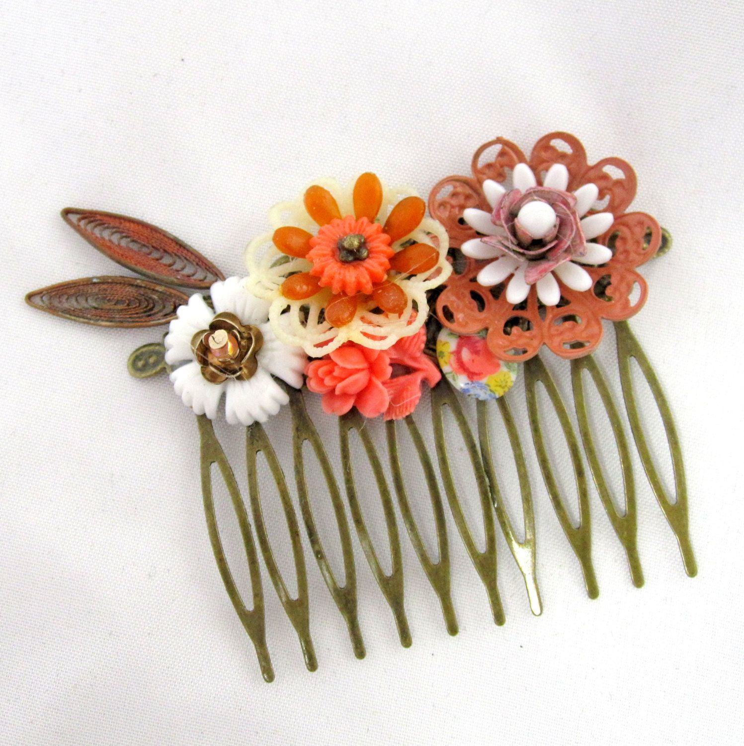 Autumn fall Vintage Bridal Hair Comb in orange brown by cloudcake, $35.00