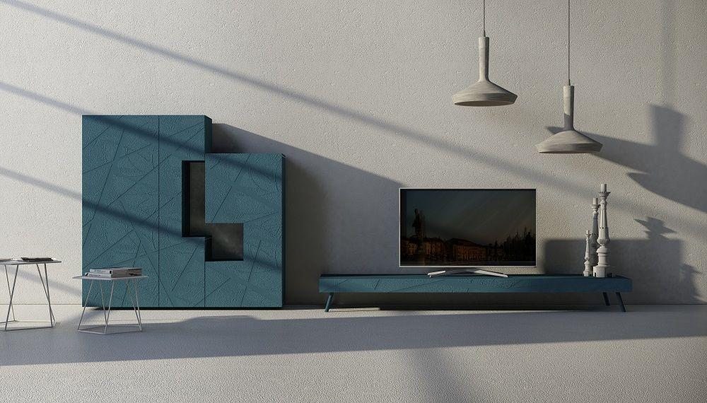 Credenza Moderna Gialla : Madia 55 1 in legno laccato opaco blu acciaio con bassorilievo 31