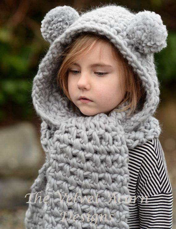 Crochet PATTERN-The Zolta Hooded Scarf (12/18 months, Toddler, Child ...