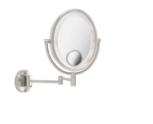 Magnifying Mirror With Light Lighted Makeup Wall Mount Oval Nickel