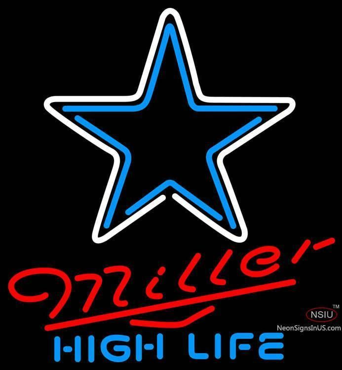 Miller High Life Dallas Cowboys NFL Real Neon Glass Tube