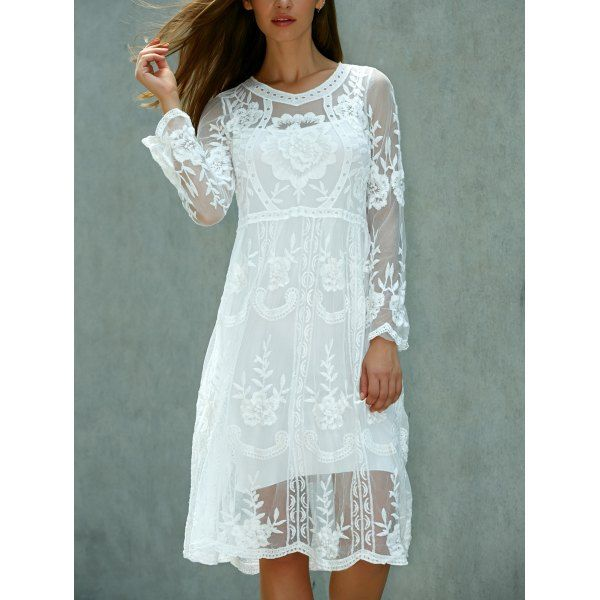 Lace Embroidered Long Sleeve Sheer Wedding Dress | Lace dress ...