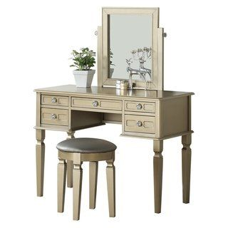 Awesome Bobkona Rectangular Shape Mirror Vanity Set W Stool And 5 Pabps2019 Chair Design Images Pabps2019Com