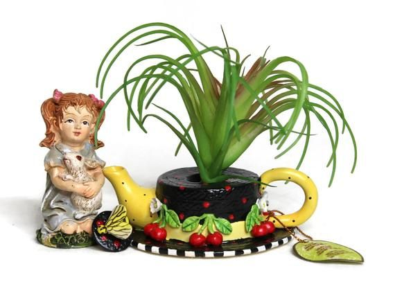 Fairy Garden Accessories Cute Miniature Yard Lawn Ornament Home Decor Unique Small Ceramic Black Hat with Cherry Air Plant Tillandsia Pot Garden