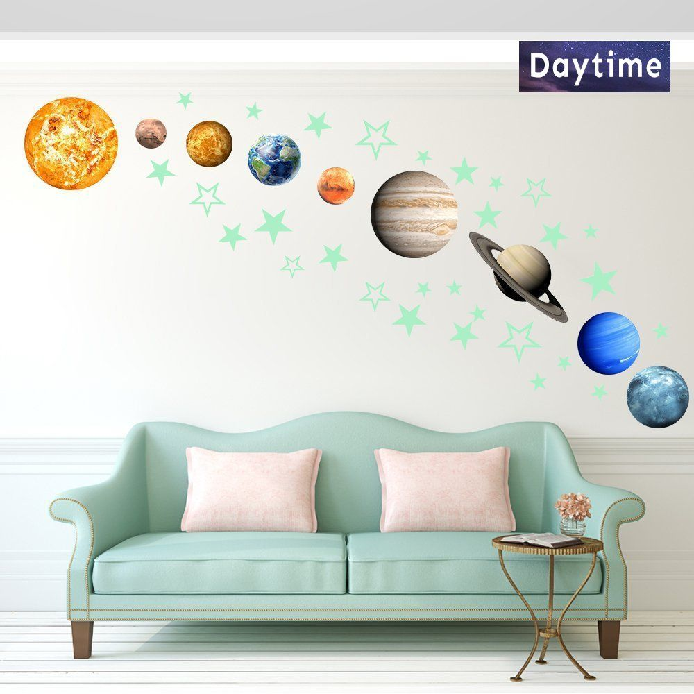 36pcs Removable Glow In The Dark Planet Wall Stickers 9pcs With