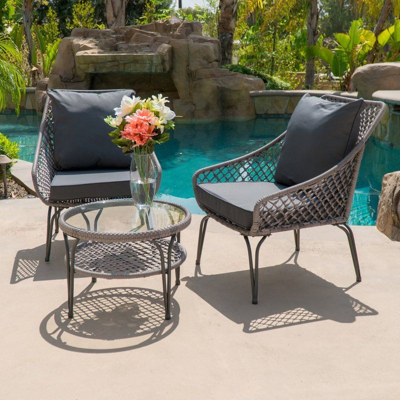 Admirable Galey Outdoor 3 Piece Conversation Set With Cushions Andrewgaddart Wooden Chair Designs For Living Room Andrewgaddartcom