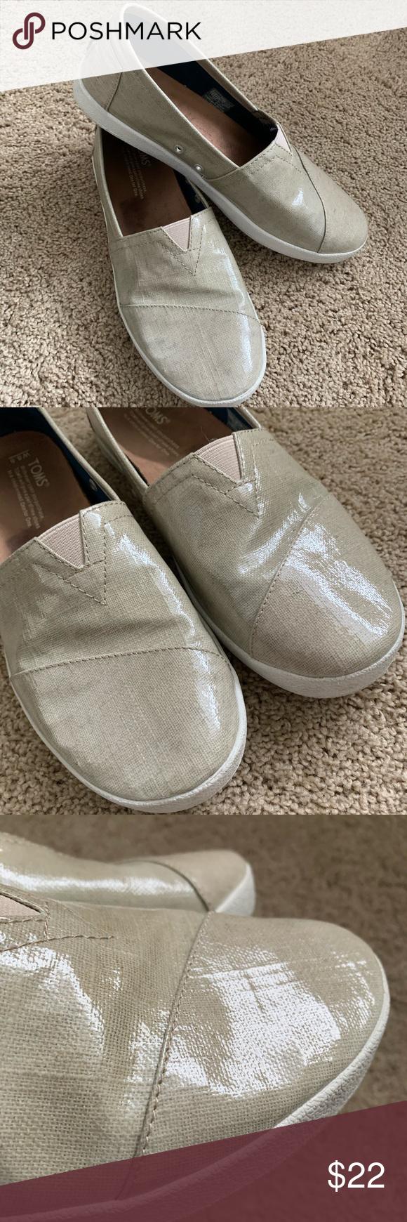 I just added this listing on Poshmark Toms slip on vinyl shoes