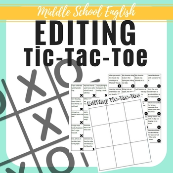 Editing Tic Tac Toe 40 Sentences 7th Writing State Test Aligned