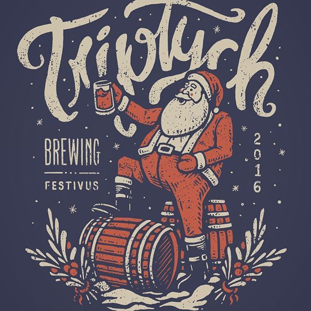 This Friday is Festivus at @triptychbrewing! All kinds of awesomeness going down including live printing by yours truly. Hope to see you scoundrels there, check out Triptych's page to get all the details. . . . #hazardpress #midwestbest #triptychbrewing #festivus #beer #holiday #santa #liveprinting #shirt #shirtdesign #christmas #illustration #design #graphic #handdonetype #typography #screenprinting #mistletoe #snow #localbrewery #champaignurbana #savoy #illinois #centralillinois