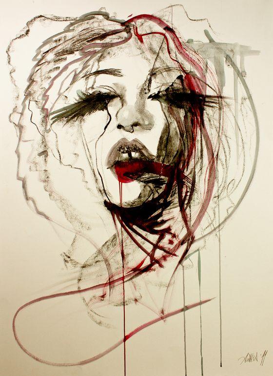 "Saatchi Online Artist: Priscilla Ainhoa Griscti; Charcoal, 2011, Drawing ""Chimera"""