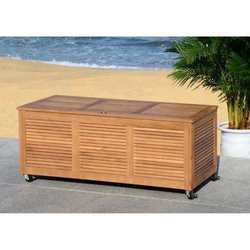 Safavieh Elina Indoor / Outdoor Wood Rolling Storage Box   Jet.com