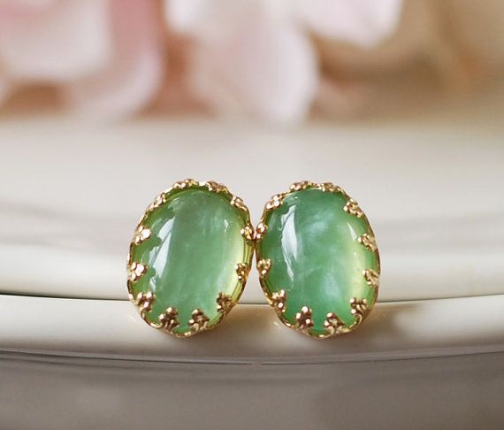 2d0ff3a87 18K Gold Plated Mint Green Lacy Crown Post Earrings. Mint Green Sea Foam  Green Cabochon Post Earrings. Many Colors Available via Etsy