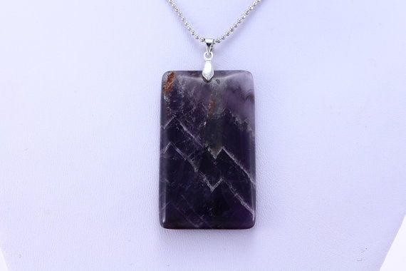Rectangle Amethyst Necklace  Amethyst Crystal by StoneRealm