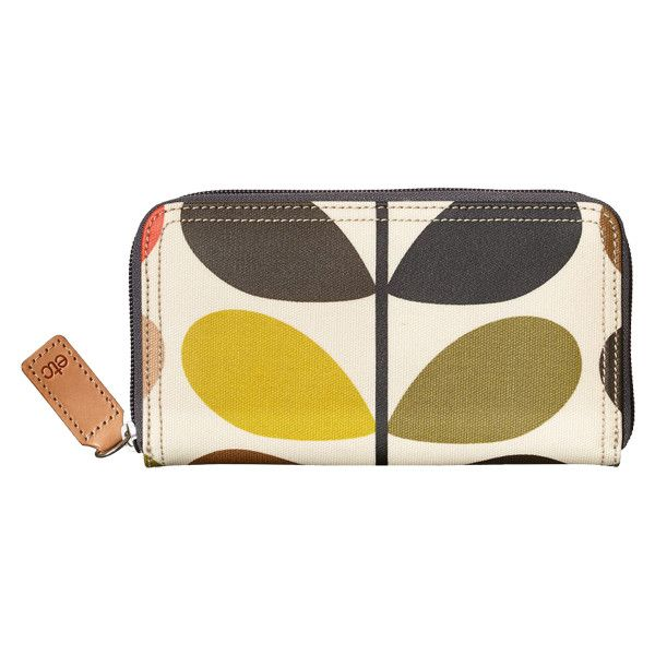 Orla Kiely Big Zip Wallet ($88) ❤ liked on Polyvore featuring bags, wallets, yellow, yellow bag, orla kiely wallet, pocket bag, zipper wallet and zip bag