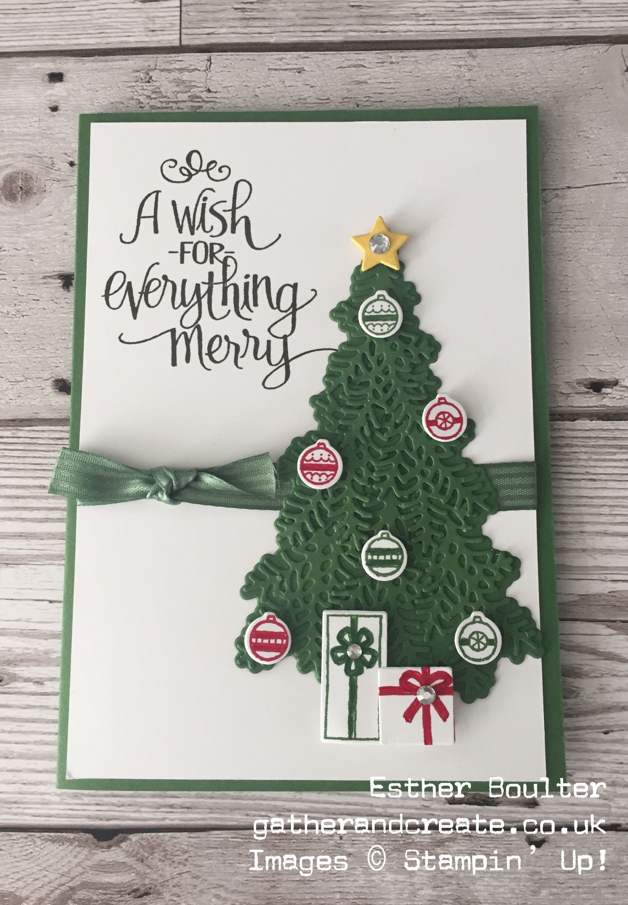esther boulter gather and create christmas card using ready for christmas bundle from stampin up