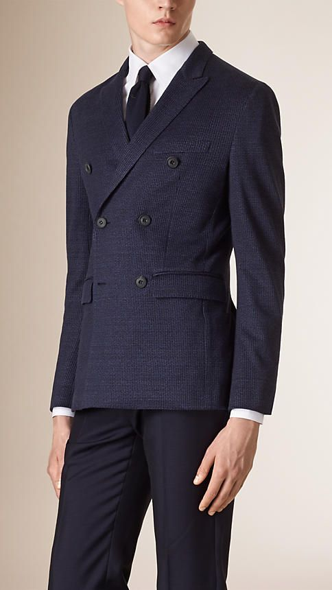 Navy Slim Fit Puppytooth Linen Blend Jacket - Image 1