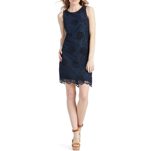 Donna Morgan Floral Eyelet Shift Dress ($158) ❤ liked on Polyvore featuring dresses, midnight, blue sundress, blue floral sundress, floral print dress, floral sundress and blue floral dress