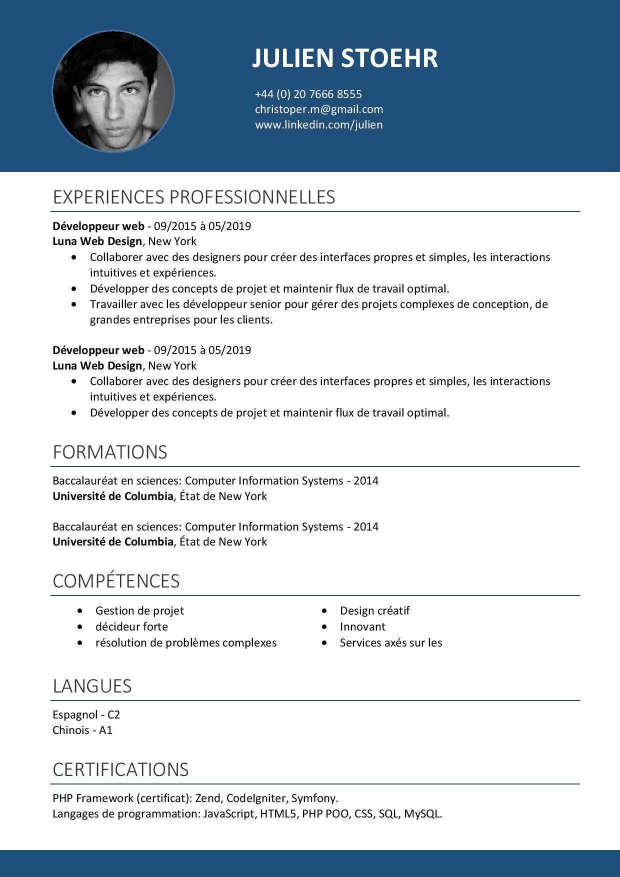 exemples de Curriculum Vitae à télécharger Modèles de CV