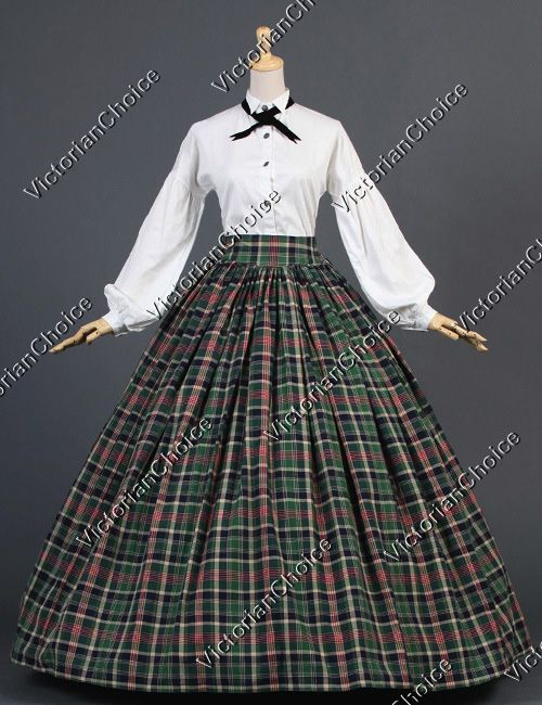 Dickens Country Plaid Tartan Victorian Puff Sleeved Dress Gown Reenactment  Clothing Stage Wear 737d0d123688