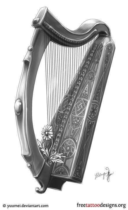 24+ Harp tattoo ideas