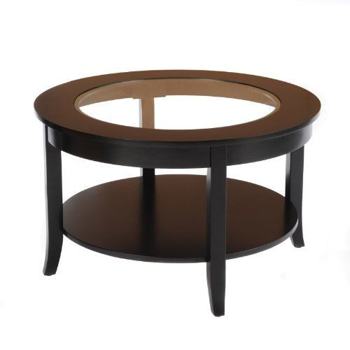 Bay Shore Collection Glass Top Round Coffee Table Black 30 Inch