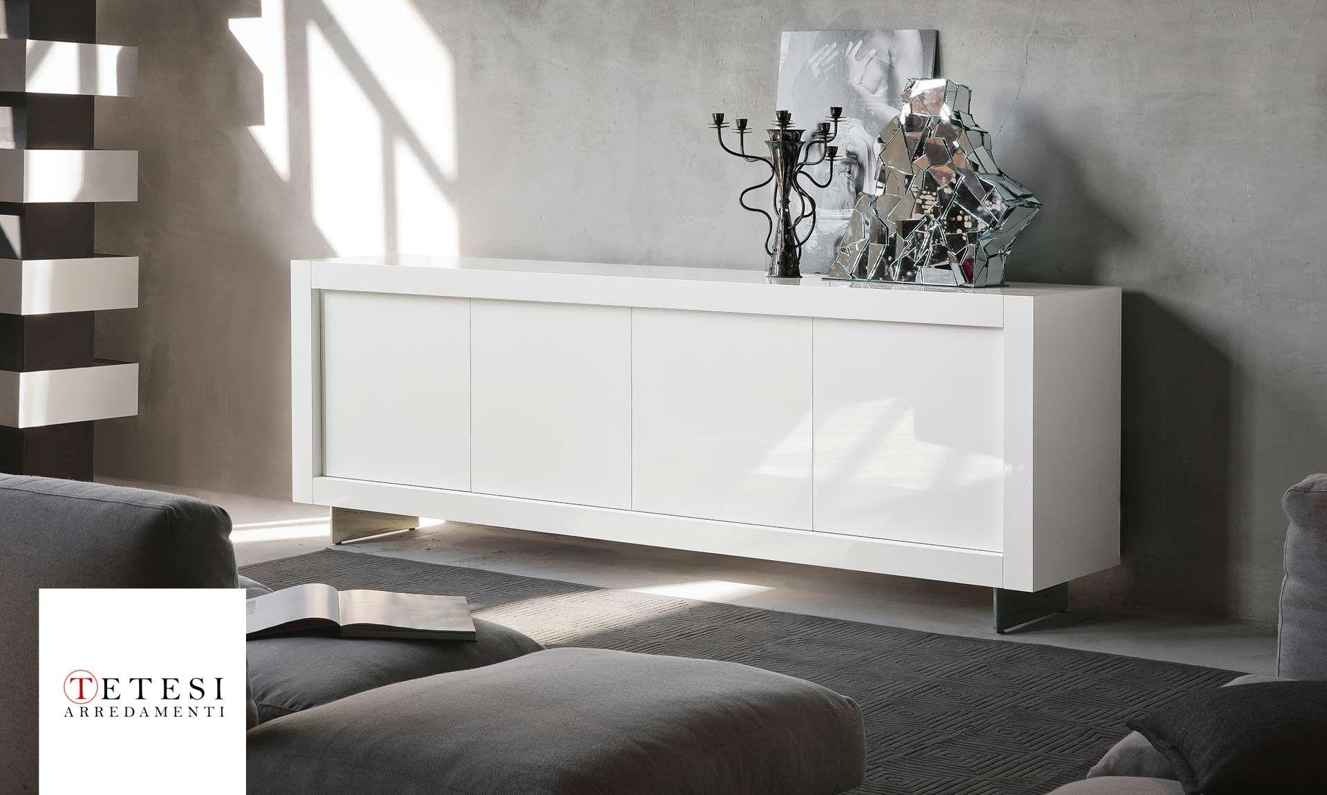 Credenza Moderna Bianca Laccata : Credenza moderna in legno laccato bianca rossa square besana