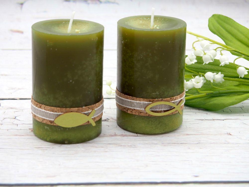 2 Stumpenkerzen Kerzen Grun Olive Kork Fisch Holz Tischdeko Deko
