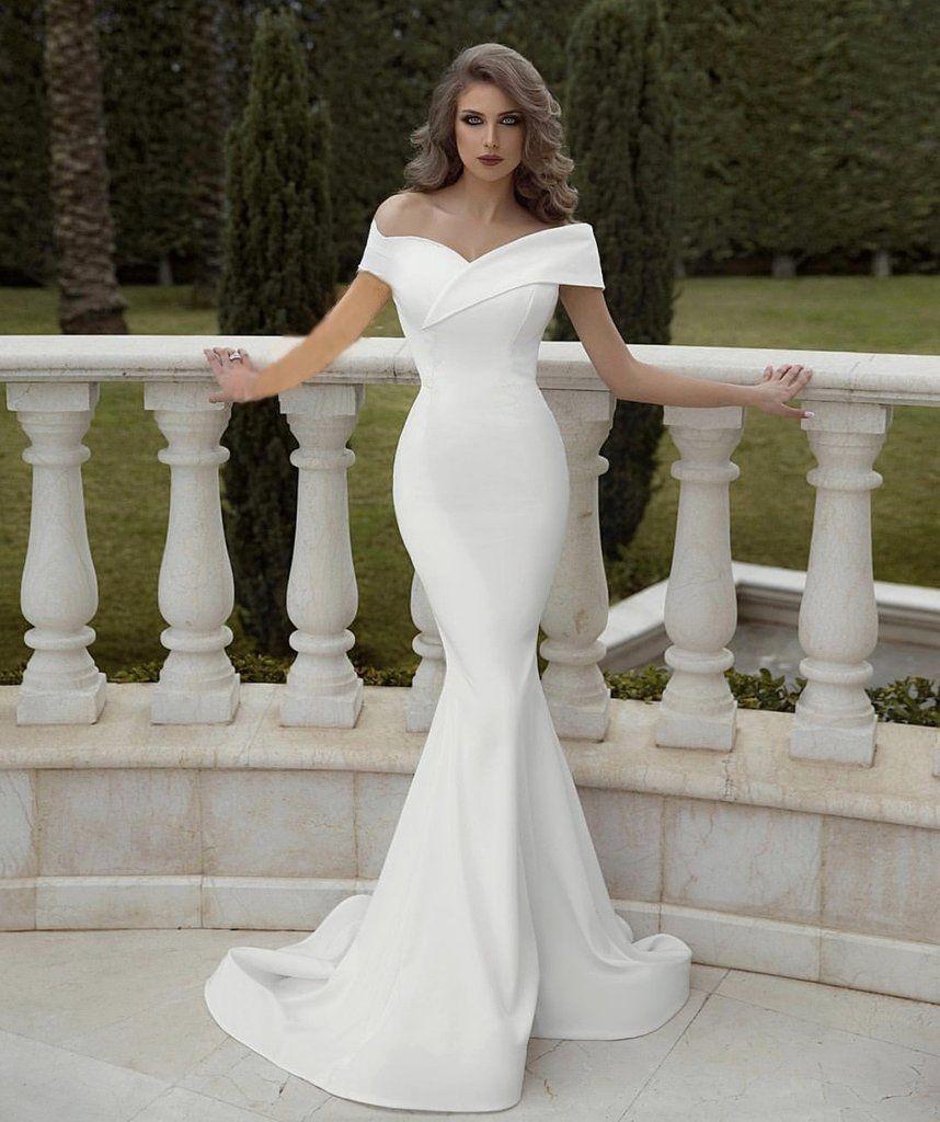 Off Shoulder V Neck Satin Mermaid Wedding Dress Wedding Dress Guide Wedding Dresses Simple Evening Party Gowns [ 1024 x 858 Pixel ]