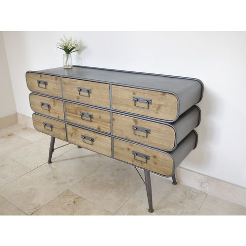 Superb Large Retro Industrial Metal Wood Cabinet Chest Of
