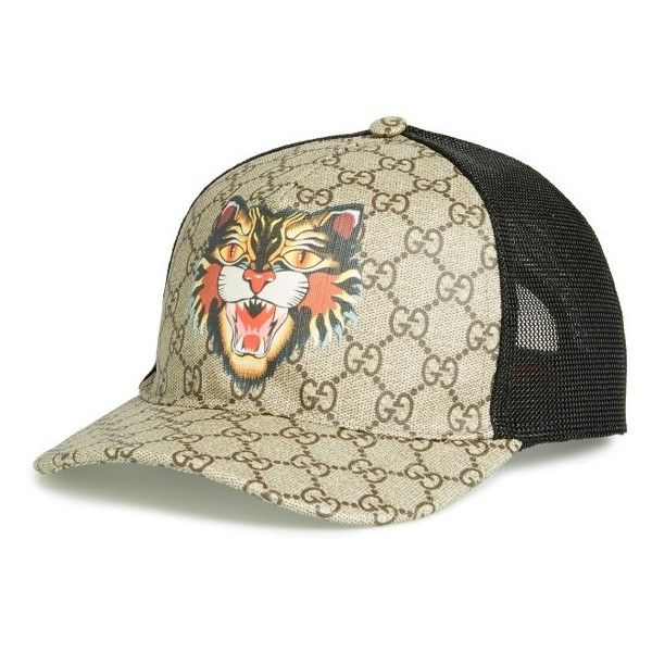 9bb9aec8b07 Men s Gucci Gg Supreme Angry Cat Trucker Hat ( 440) ❤ liked on Polyvore  featuring