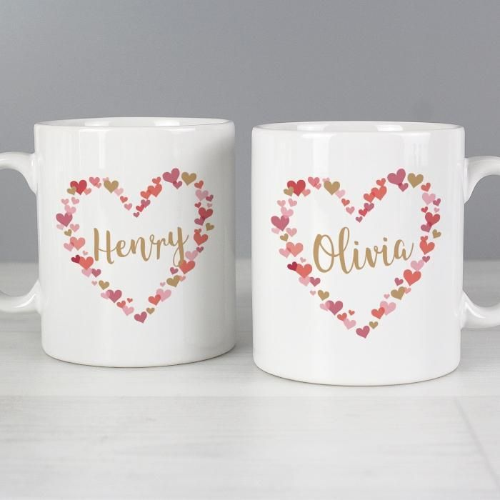 Personalised Confetti Hearts Mug Set